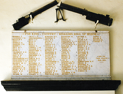 First World War honour roll at Binalong, NSW, displayed with two captured German machine guns.