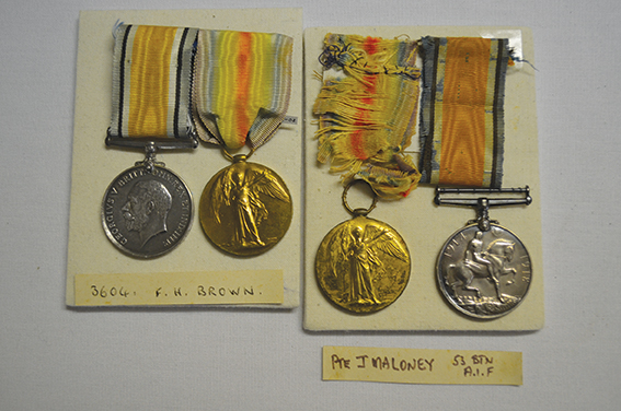 Medals with deteriorated ribbon