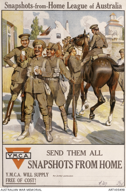A First World War illustrated poster depicting male soldiers in uniform.