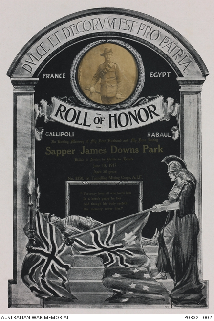 A roll of honour with a picture of a male soldier.