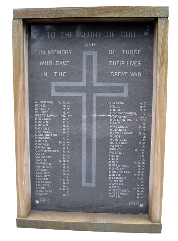 Honour roll at St John the Baptist Church in Canberra